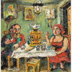 David Davidovich Burliuk (Russian/American, 1882-1967)      Tea Party