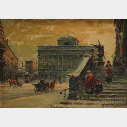Wladyslaw T. Chemielinski (Polish, b. 1895)      Winter Street Scene, Warsaw