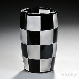 Val St. Lambert Checkered Art Glass Vase