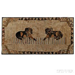 Large Hooked Rug of Two Dogs