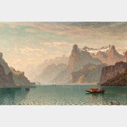John Joseph Enneking (American, 1841-1916)      Boats on Lake Lucerne