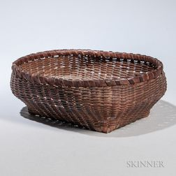 New England Indian Woven Splint Sewing Basket