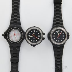 Two Hamilton Sea Hawk Compass Wristwatches
