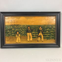 Framed Oil on Canvas Folk Scene of Sailors on a Beach