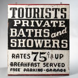 """Painted Double-sided """"Tourists/Private Baths and Showers"""" Sign"""