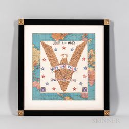 """Patriotic """"Win the War"""" Eagle Stamp Art Picture"""