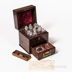 Early Diminutive Mahogany Apothecary or Medicine Traveling Case and Associated Apothecary Receipt