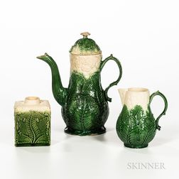 Three Staffordshire Cauliflower Decorated Creamware Items