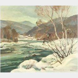 Stephen George Maniatty (American, b. 1910)  Along the Deerfield River