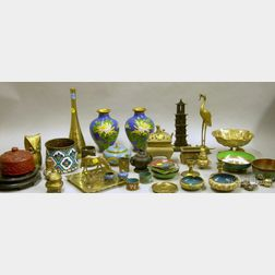 Twenty-three Pieces of Asian Enamelware, a Cinnabar Box, and Fifteen Pieces of   Asian Brass and Metal Table and Figural Items
