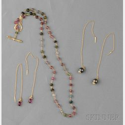 18kt Gold and Tourmaline Necklace, and Earpendants, Cynthia Bach