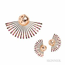 "Suite of 14kt Gold, Ruby, and Diamond ""Sputnik"" Jewelry"