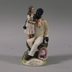 Staffordshire Ceramic Figural Group of Uncle Tom and Eva