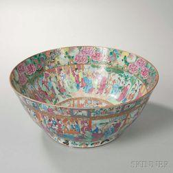 Large Rose Mandarin Export Porcelain Punch Bowl