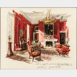 Kennedy, John Fitzgerald (1917-1963) and Jacqueline Lee Bouvier Kennedy (1929-1994) Print of the Red Room, Christmas 1962.