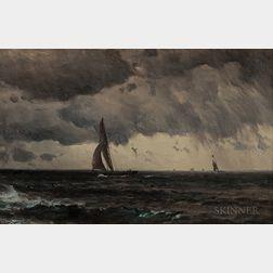 Mauritz Frederik Hendrik de Haas (American, 1832-1895)      Sailing Through Storms