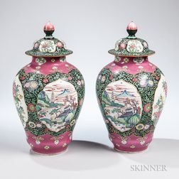 Pair of Samson-type Chinoiserie Urns