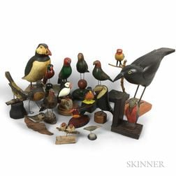 Sixteen Carved and Painted Wood Folk Art Birds