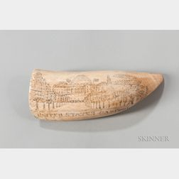 Scrimshaw Whale's Tooth of the United States Capitol and George Washington