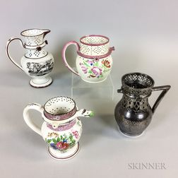 Four Staffordshire Ceramic Puzzle Jugs