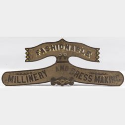 Shaped and Paint-decorated Millinery Sign