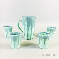 C.D. Nowell Pottery Pitcher and Tumblers Set