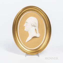 Wedgwood Yellow Jasper Dip Portrait Plaque of Washington