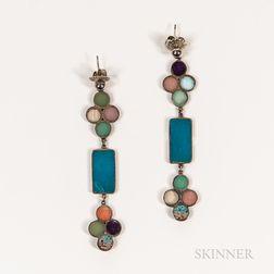 Pair of Carl & Irene Clark Silver Earrings