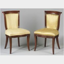 Pair of Continental Empire-style Mahogany Side Chairs