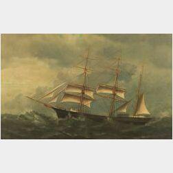 British School, c. 1860  Portrait of a Barque The Europa   Riding Through a Storm.