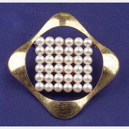 18kt Gold and Cultured Pearl Pendant/Brooch Necklace, Mikimoto