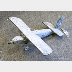 Folk Painted Iron-mounted Wooden Propeller Airplane Weather Vane Figure