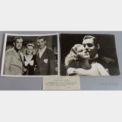 "Two Jean Harlow and Clark Gable ""Saratoga"" MGM Studio Publicity Press Still   Photographs with Typed Snipes"