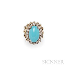 14kt Gold, Turquoise, and Diamond Ring