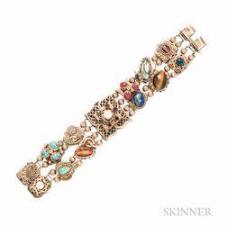 14kt Gold Slide Bracelet Covered Watch