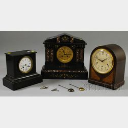 Two Belgian Slate Clocks and a Mahogany Shelf Clock by Seth Thomas