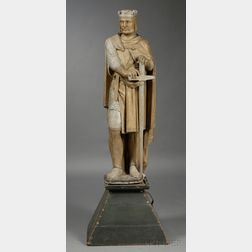 Carved and Painted Figure of King Arthur