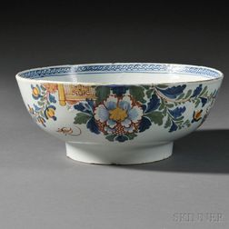 Polychrome Floral-decorated Delftware Bowl