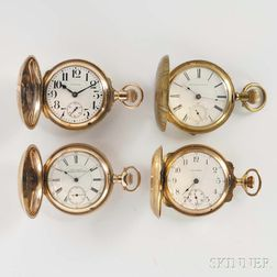 Four Waltham Gold-filled Hunter Case Watches
