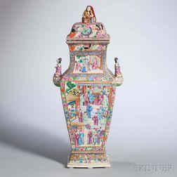 Rose Mandarin Export Porcelain Vase and Cover