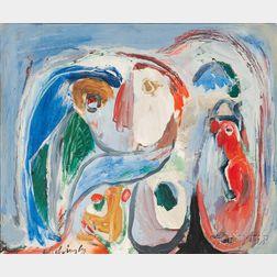 Pierre Alechinsky (Belgian, b. 1927)      No. 635:  La déception du visiteur, 1962