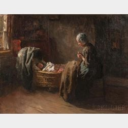 Albert Johan (Jan) Neuhuys (Dutch, 1844-1914)      Watching Baby Sleep