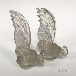 Pair of Lalique Frosted Glass Pheasant Bookends