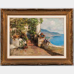 Mario Maresca (Italian, 1877-1959)    View of the Coast from a Verdant Terrace
