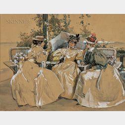 Alice Barber Stephens (American, 1858-1932)      Three Elegant Seated Ladies with Parasols
