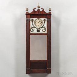 Joseph Ives Mahogany Looking Glass Wall Clock