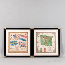Two Stamp Art Pictures Featuring Flags