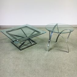 Two Modern Glass-top Chromed Metal Tables
