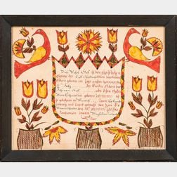Watercolor Birth Fraktur for Rachel Gaff
