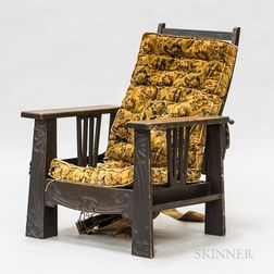 Arts and Crafts Scratch-carved Oak Morris Chair